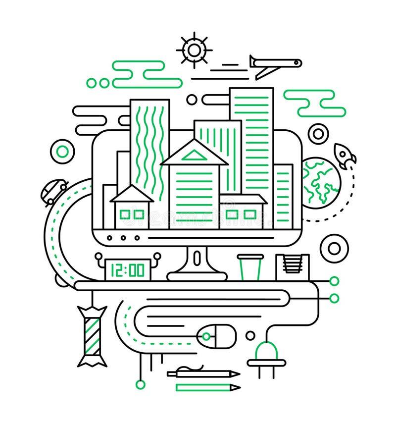 Reis, reis planning - de samenstelling van het lijnontwerp vector illustratie