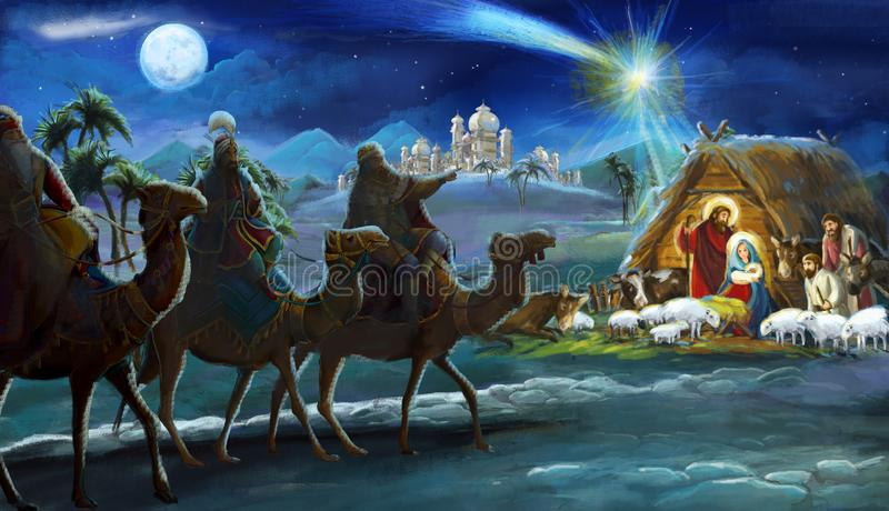 Reis religiosos da ilustração três - e família santamente - cena tradicional ilustração royalty free