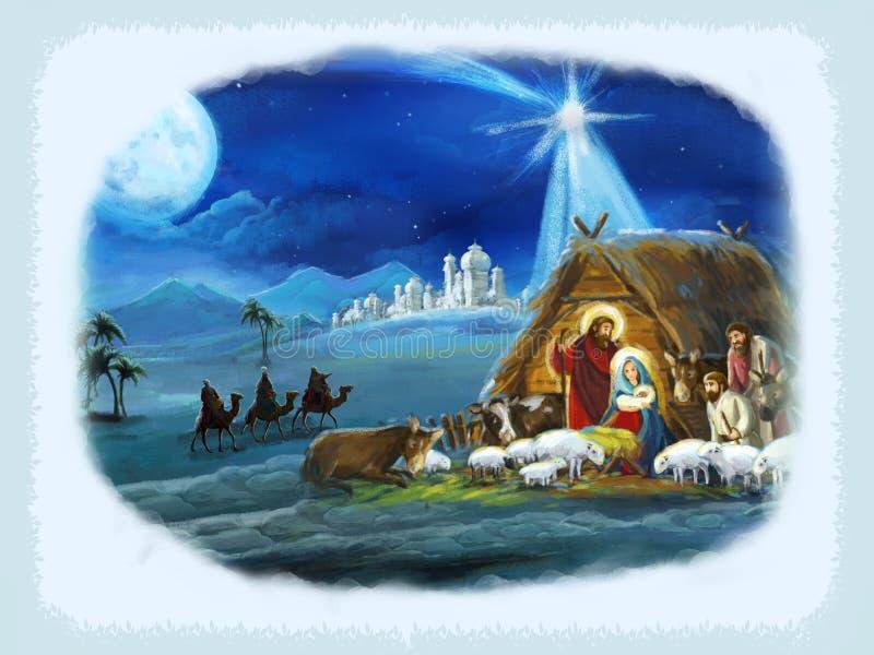 Reis religiosos da ilustração três - e família santamente - cena tradicional ilustração stock