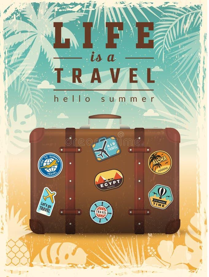 Reis retro affiche Het aanplakbiljet van de de zomervakantie met reis vectortekens vector illustratie