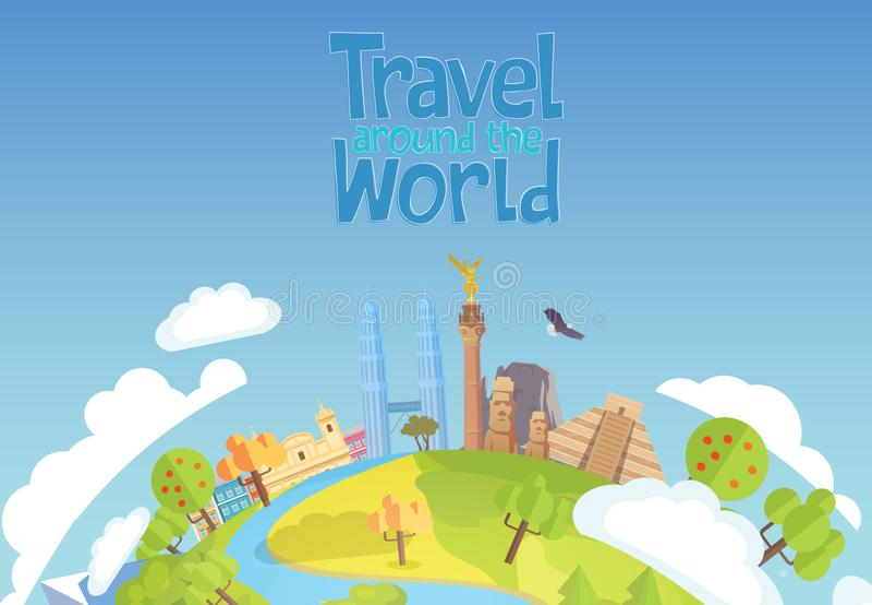 Reis rond de blauwe achtergrond Mexico Singapore van het wereldconcept royalty-vrije illustratie
