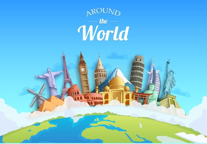 Reis rond de van het achtergrond wereldconcept ontwerporiëntatiepunten en van de toerist bestemming vector illustratie