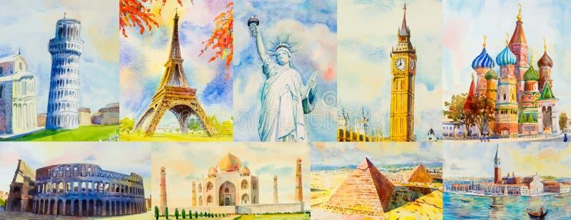 Reis rond de wereld en de gezichten Beroemde ori?ntatiepunten stock illustratie