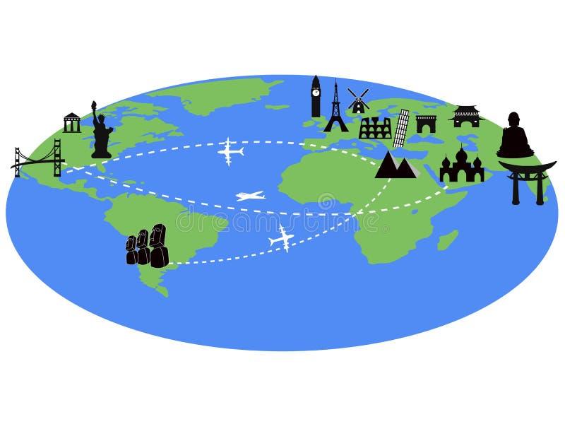 Reis rond de wereld met oriëntatiepuntenachtergrond stock illustratie