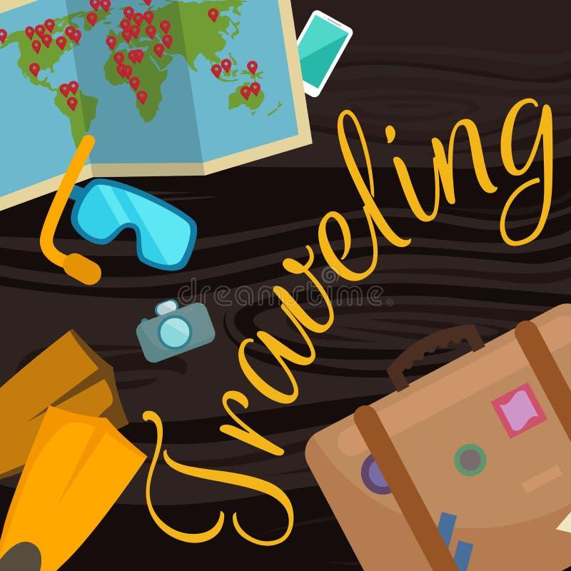 Reis rond de wereldaffiche Toerisme en vakantie, aarde, reis globale, vectorillustratie Conceptenbanner royalty-vrije illustratie