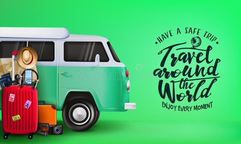 Reis rond de Wereldbanner met 3D Realistische Reizende Zak van Van Car en van de Bagage royalty-vrije illustratie