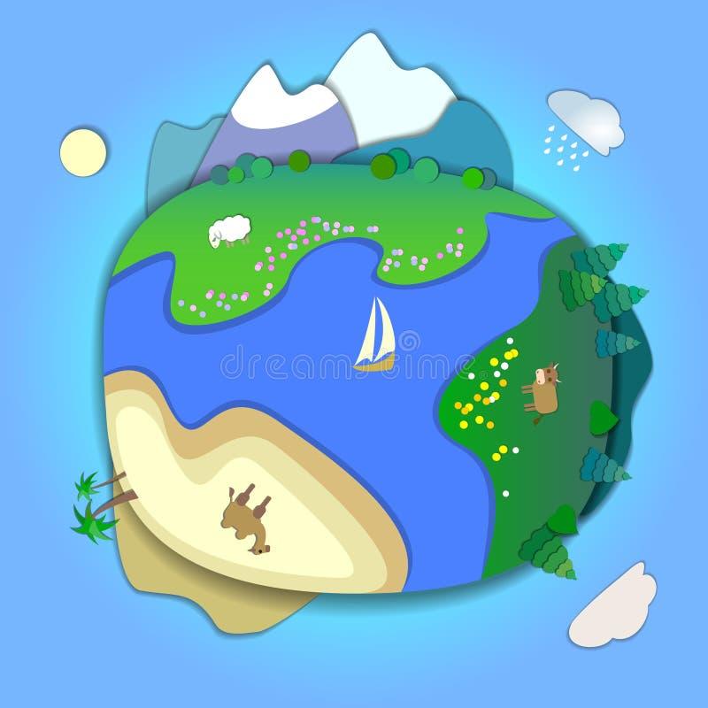 Reis rond het wereldconcept, die een de zomervakantie, reis plannen royalty-vrije illustratie