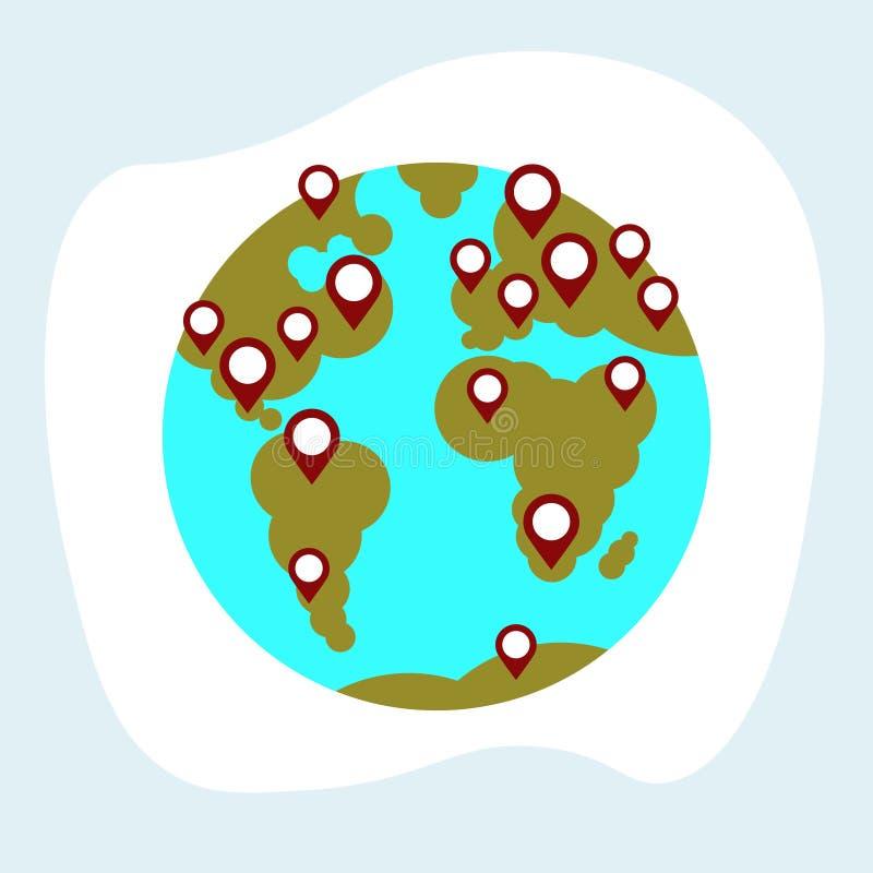 Reis rond van de de wijzersaarde van de wereldkaart van de de bolnavigatie vlakke het concepten witte achtergrond stock illustratie