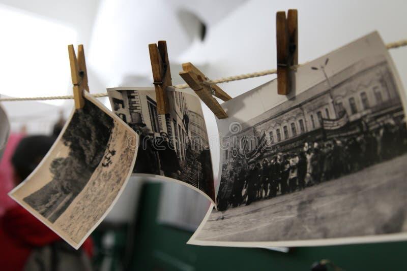 Reis Rusland: oude zwart-witte foto's royalty-vrije stock foto