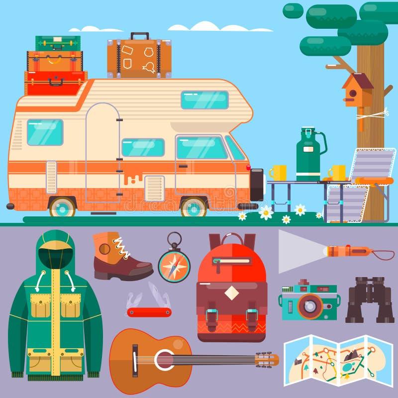 Reis, toerismebanner De zomervakantie, vakantie Reis rond de wereld Reis, reisplan Vlakke vectorillustratie royalty-vrije illustratie