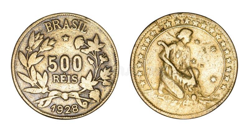 Reis 1928, värde som flankeras av kvistar, datum brasilianför silvermynt 500 under, kvinna med ymnighetshorn som omges av stjärno royaltyfri bild