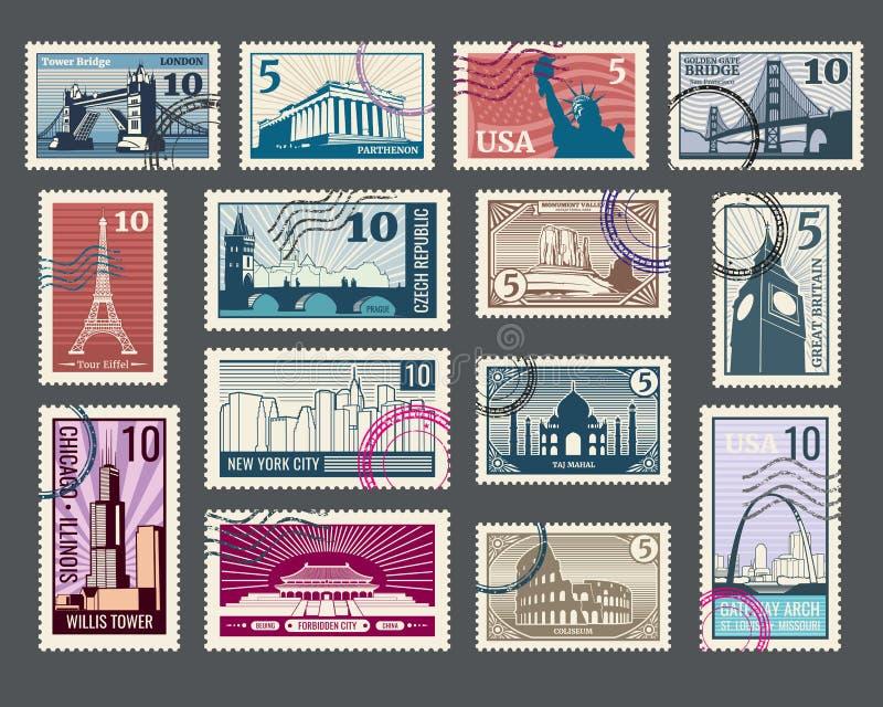 Reis, vakantie, postzegel met architectuur en wereldoriëntatiepunten stock illustratie