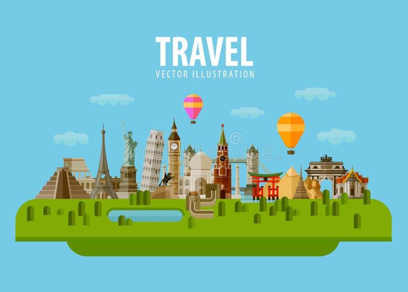 Reis, vakantie, reis Vector vlak stock illustratie