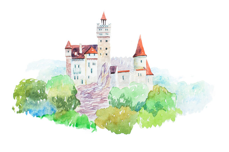 Reis van de Zemelen beroemde oriëntatiepunten van het Dracula de de middeleeuwse Kasteel en illustratie van toerismewaercolor vector illustratie