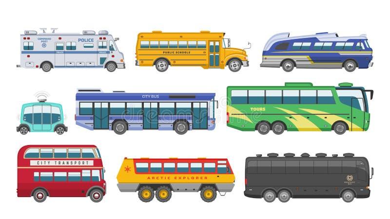 Reis van het bus de vector openbare vervoer of stadsvoertuig die de politie van passagiersschoolbus en vervoerbare auto vervoeren stock illustratie