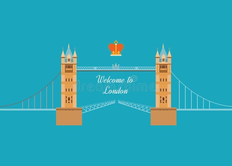 Reis van het de pictogrammenontwerp van Londen, het Verenigd Koninkrijk de vlakke royalty-vrije illustratie