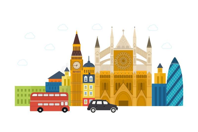 Reis van het de pictogrammenontwerp van Londen, het Verenigd Koninkrijk de vlakke vector illustratie