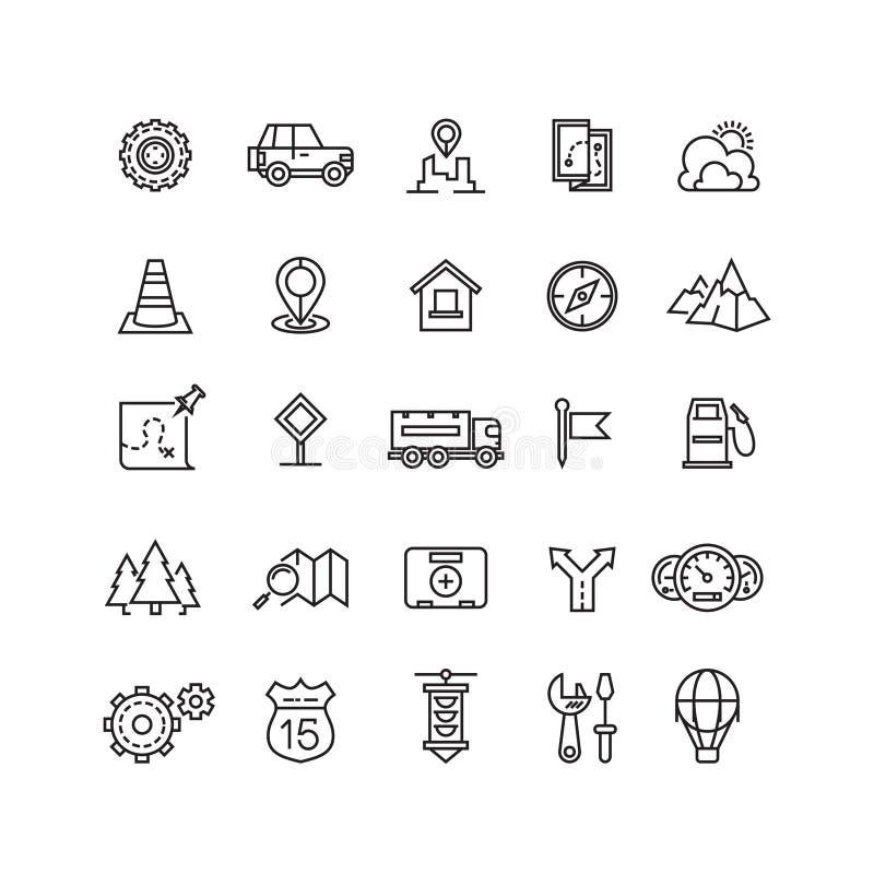 Reis, wegverkeer, geplaatste plaats vector lineaire pictogrammen stock illustratie