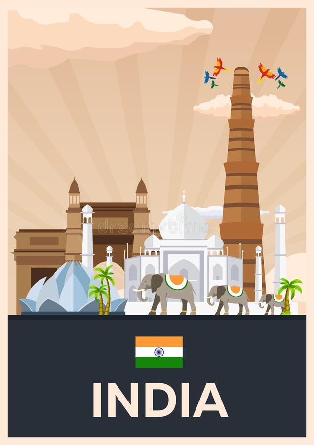 Reisaffiche aan India Vector vlakke illustratie royalty-vrije illustratie