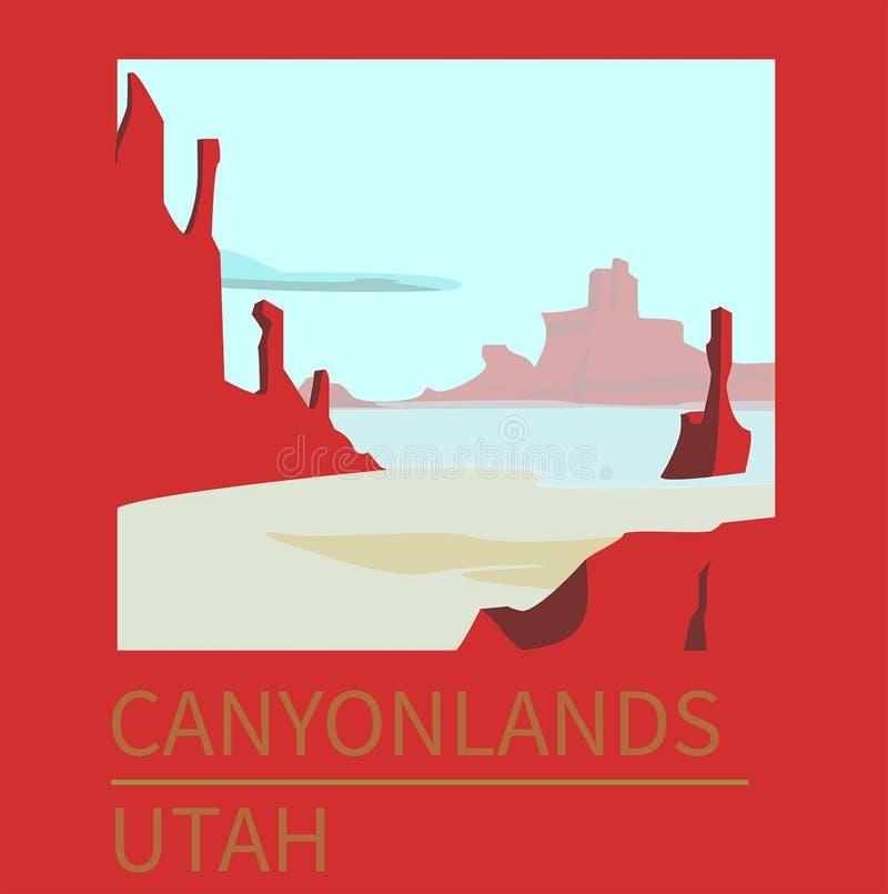 Reisaffiche Utah Canyonlands stock afbeelding