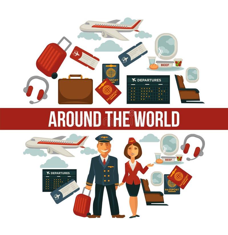 Reisaffiche voor vakantievakantie en de reis van de de zomerlucht vector illustratie