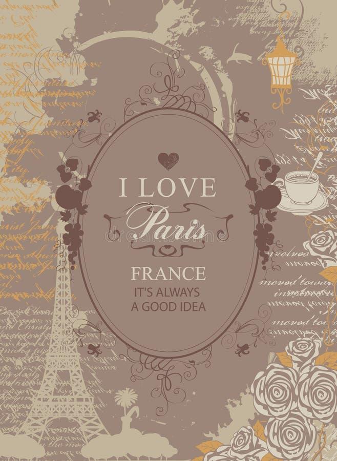 Reisbanner met de Toren, de harten en de rozen van Eiffel stock illustratie