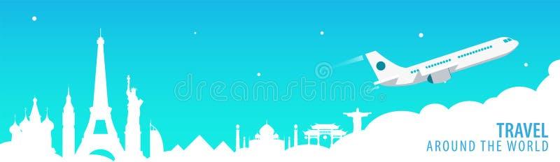 Reisbanner met oriëntatiepunten en vliegtuig Rond de Wereld Toerismeachtergrond Vector illustratie royalty-vrije illustratie