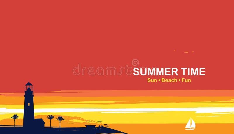 Reisbanner met vuurtoren, palmen en zeilboot stock illustratie