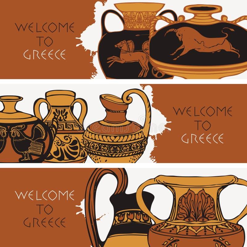 Reisbanners op het thema van Oud Griekenland royalty-vrije illustratie