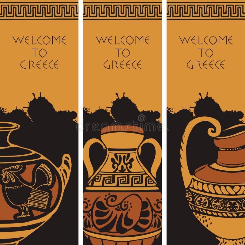 Reisbanners op het thema van Oud Griekenland stock illustratie