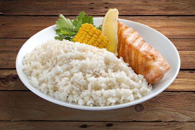 Reisbrei mit Lachsen und Gemüse stockbild