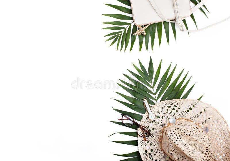 Reisconcept, creatieve regeling op witte achtergrond stock fotografie