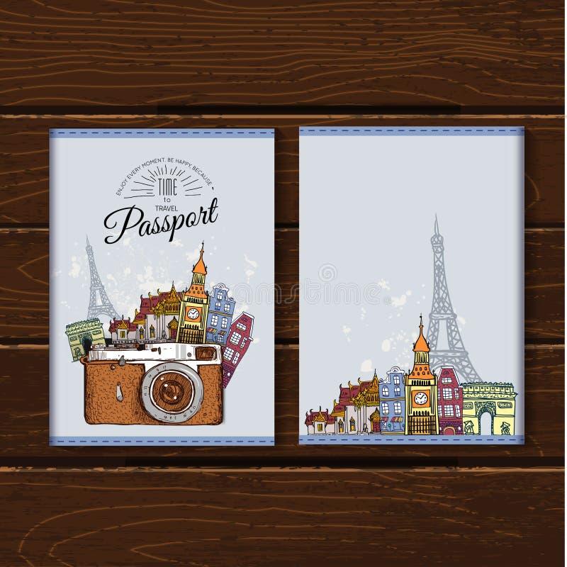 Reisdocumenten Internationaal paspoort Vector illustratie royalty-vrije illustratie