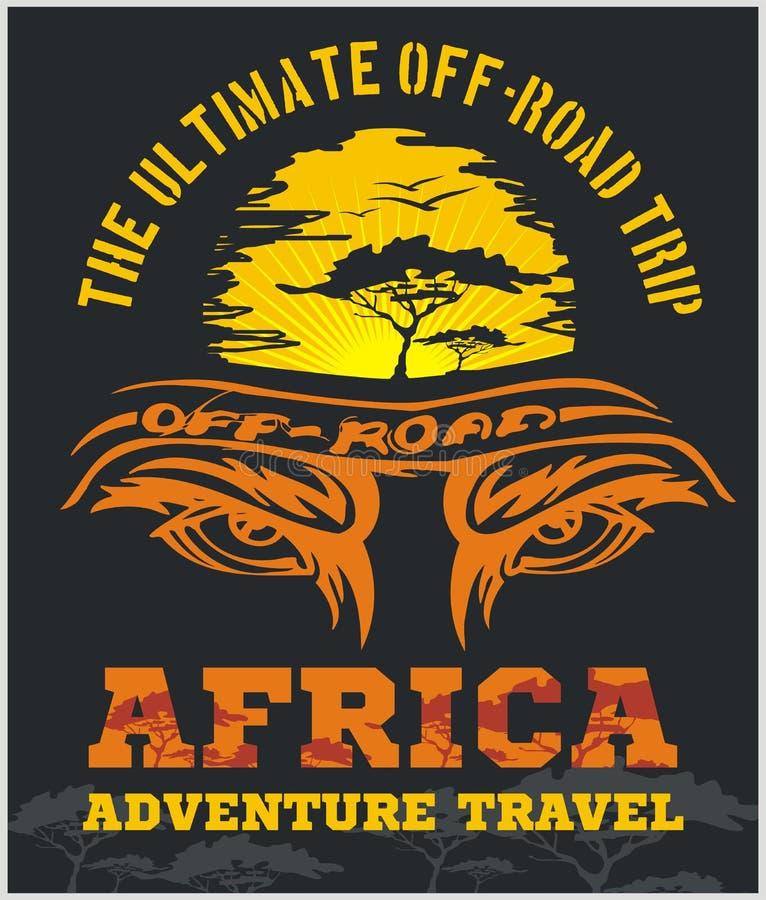 Reise Afrika - extremes Vektoremblem nicht für den Straßenverkehr lizenzfreie abbildung