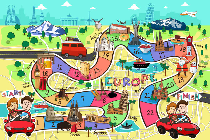 Reise-Brettspiel-Design stock abbildung
