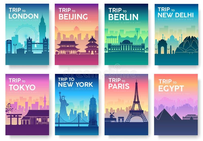 Reise der Weltbroschüre mit Typografiesatz England-Landikone England-Land Indien-Land Deutschland-Land stockbilder