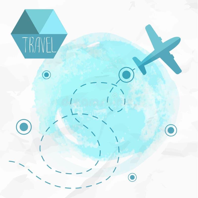 Reise durch Plane Flugzeug auf seinem Bestimmungsortweg lizenzfreie abbildung