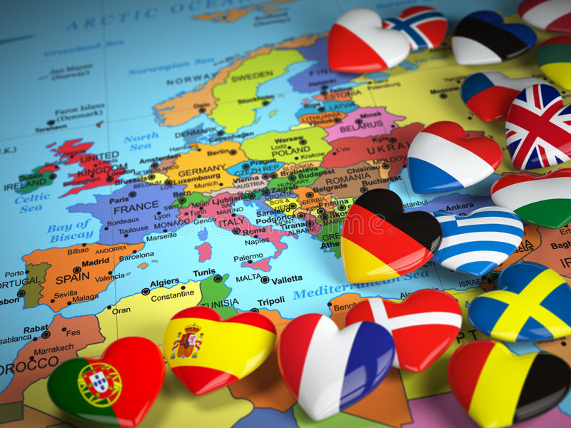 Reise EU-Konzept Karte von Europa und von Herzen mit Flaggen von Europa lizenzfreie abbildung