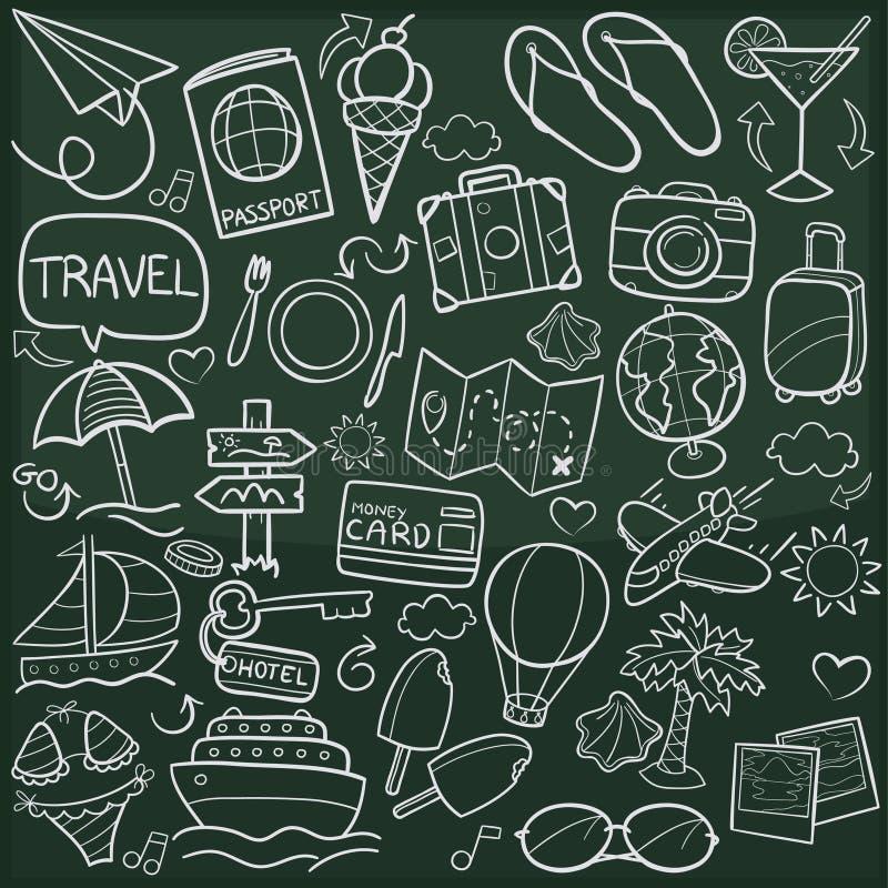 Reise-Familien-und Freund-Tourismus-traditionelle Gekritzel-Ikonen-Skizzen-handgemachter Design-Vektor lizenzfreie abbildung