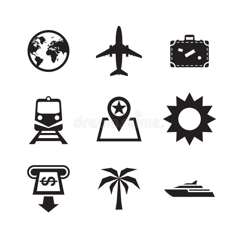 Reise-Ferien-Ikonen eingestellt Vektorillustrations-Zeichensammlung stock abbildung