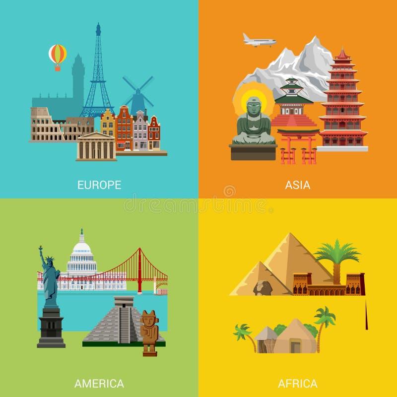 Reise-Ferienmarkstein Vektor-Europas Asien Amerika Afrika stockfotos