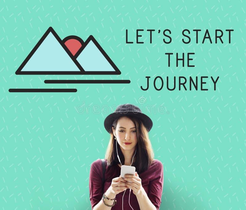 Reise-Frauen-Abenteuer erforschen Erforschungs-Konzept stockfoto
