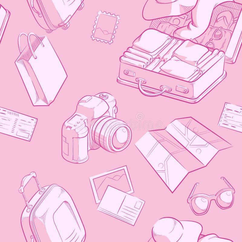 Reise-Gegenstand-Skizzen-nahtloses Muster vektor abbildung