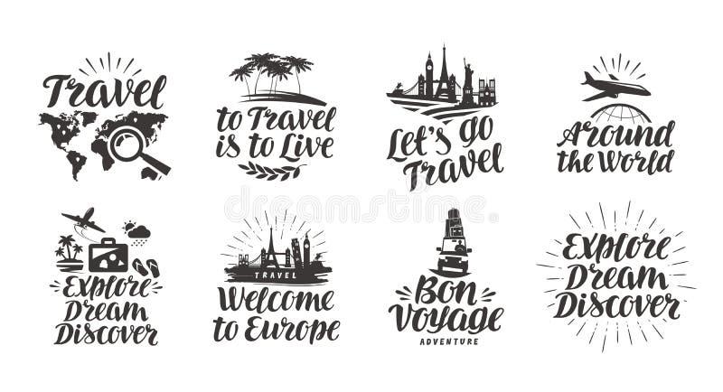 Reise, gesetzte Ikonen der Reise Handgeschriebene Beschriftung Aufklebervektorillustration stock abbildung