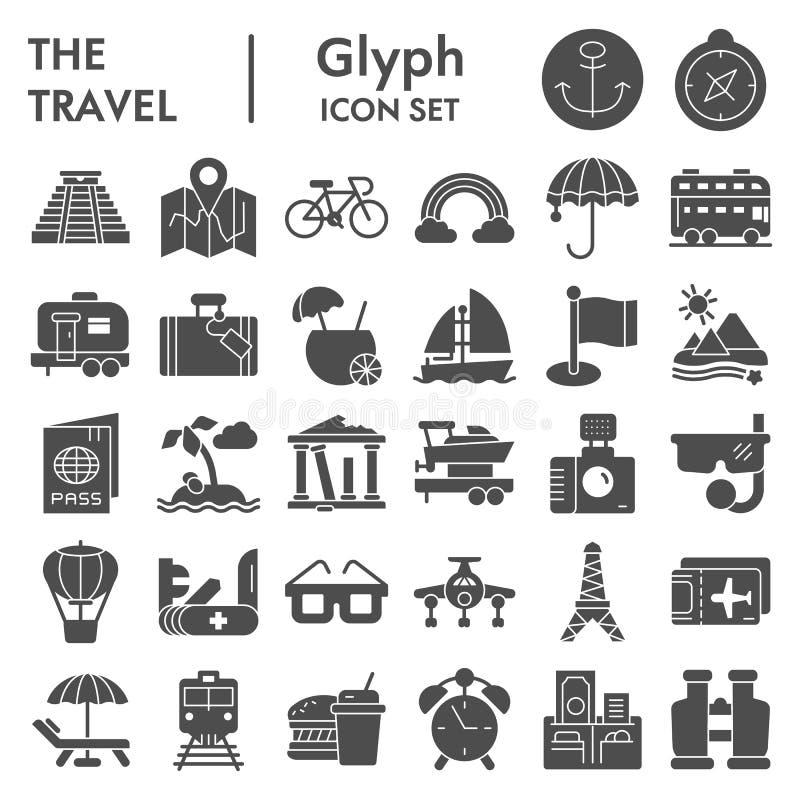 Reise Glyph-Ikonensatz, Tourismussymbole Sammlung, Vektorskizzen, Logoillustrationen, feste Piktogramme der Feiertagszeichen vektor abbildung