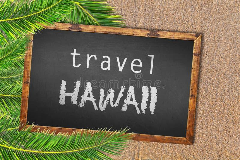 Reise-Hawaii-Palmen und Tafel auf sandigem Strand stockbild