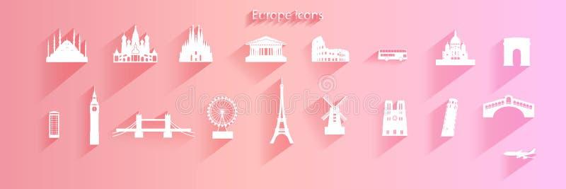 Reise-Ikonensatz des Europa-Architektursymbols auf rosa Hintergrund lizenzfreie abbildung