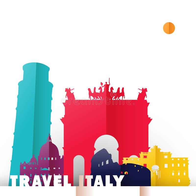 Reise-Italien-Landpapierschnitt-Weltmonumente lizenzfreie abbildung