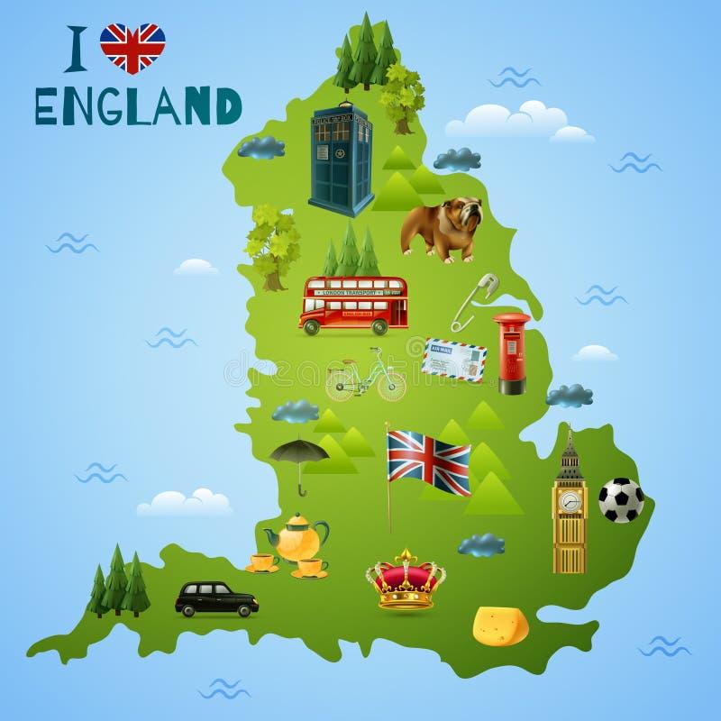 Reise-Karte für England-Illustration vektor abbildung