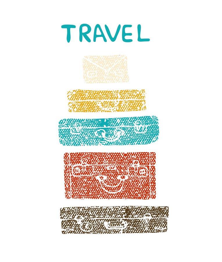 Reise-Koffer-Vektor Strukturierte Illustration eines Koffers lizenzfreie abbildung